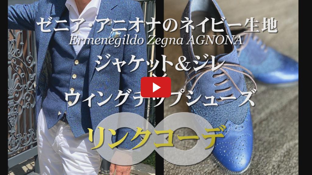 【ダンコレ発】ネイビーのジャケット×ウィングチップシューズのリンクコーデ(Ermenegildo Zegna AGNONA)