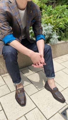 リンクコーデお客さま写真集20 ブラウンとブルーのチェック柄のジャケットとモンクスリッポンのリンクコーデ(Ermenegildo Zegna TROFEO)