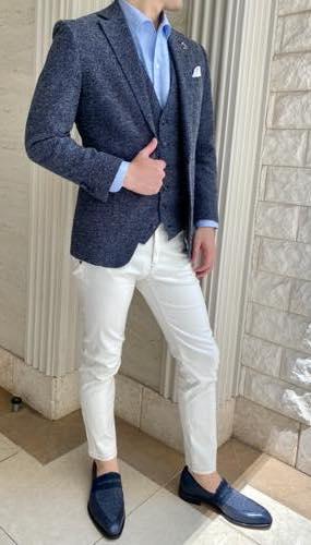 リンクコーデお客さま写真集21 ブルーグレーのジャケットとローファーのリンクコーデ(Ermenegildo Zegna AGNONA)
