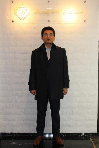 加藤ネイビーストライプのオーダーコート