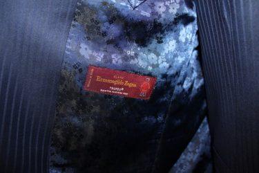大人の色気を印象づけるゼニア・トロフェオ・ネイビーシャドーストライプオーダースーツ