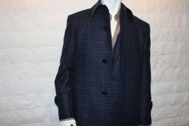 ネイビーチェック・ゼニア(Zegna)オーダーコート(coat)