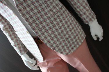 スィートなピンクは甘さと渋さのバランスを取れるダンディオヤジジャケット