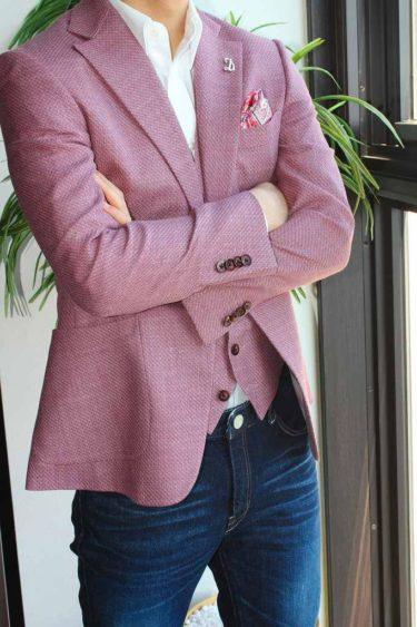 ゼニア・クールエフェクト生地でお仕立てした甘くスウィートなピンクオーダージャケット
