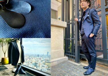 ネイビー織柄のジャケットとシューズのリンクコーデ