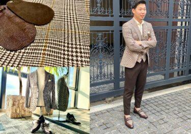 ブラウンチェックのジャケット&ジレ×ローファーのリンクコーデ