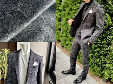 ドレッシーなブラックペイズリー柄のジャージースーツ